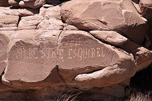 Rockface with Spanish inscription, including the name Esquibel