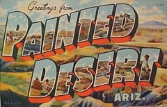 colorful postcard from the Painted Desert
