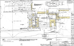 Blueprint drawing of complex layout