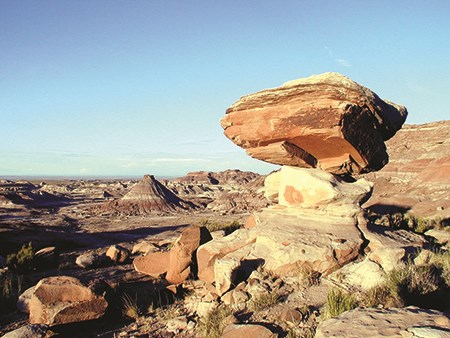 Badlands and balanced rocks in the wilderness