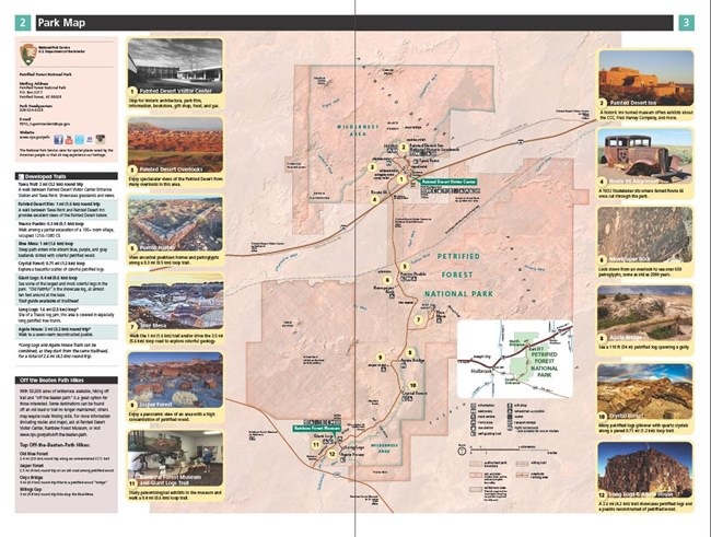 Pages 2 and 3 of the Trip Planner for Petrified Forest. Contains a park boundary map, park information, and trail information