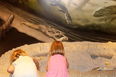 Two kids play in the faux dig at Rainbow Forest Museum
