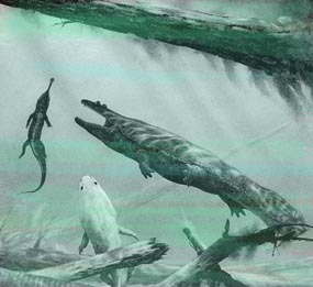 Metoposaurs and young phytosaur painting