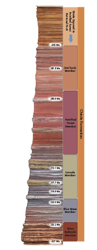 Colorful stratigraphy column