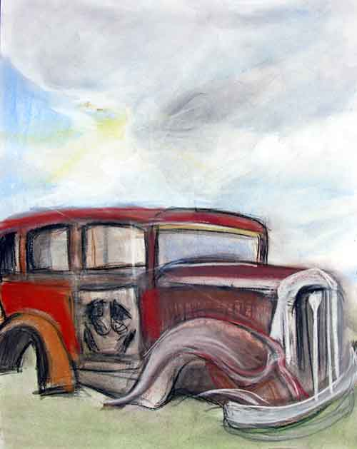 colorful painting of Studebaker as it sits at the Route 66 pull out within the park
