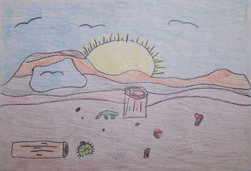 colorful landscape drawing with petrified wood, the sun, and rolling badland hills