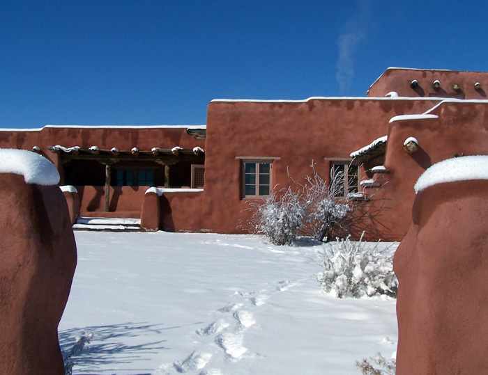 Painted Desert Inn National Historic Landmark in snow