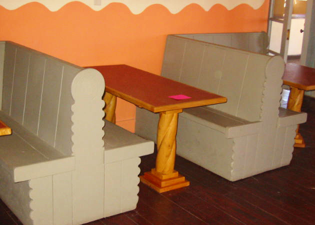Reproduction tables join the original booths at the Painted Desert Inn National Historic Landmark.