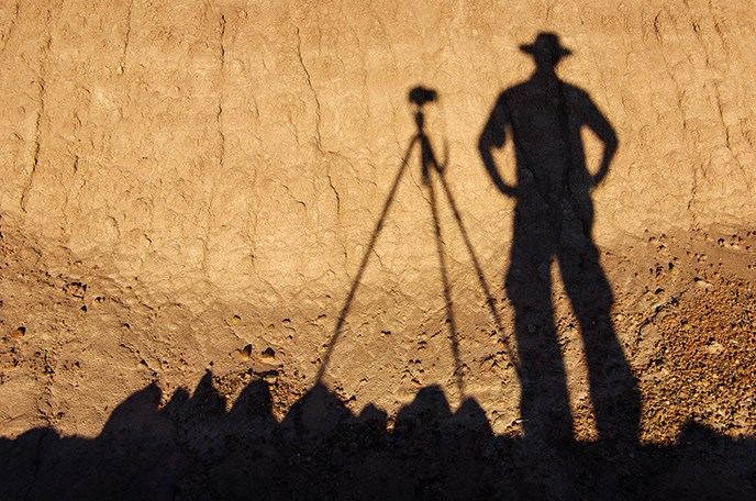 Shadow of Photographer Stuart Holmes at Blue Mesa