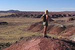 Hiker scans Painted Desert vista