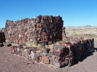 partially reconstructed pueblo walls made of petrified wood