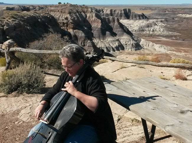 Cellist at Blue Mesa