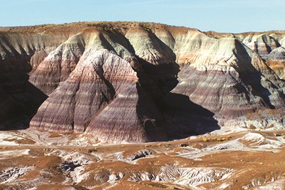 Blue, purple, and gray bands on the badlands at Blue Mesa