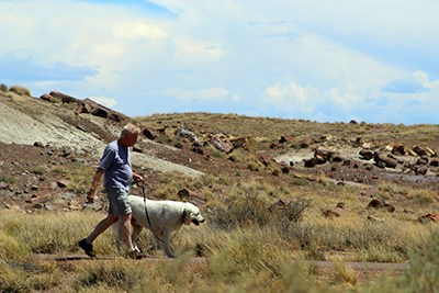 Man with dog walks the Crystal Forest Trail