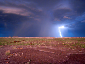 Lightning at Petrified Forest National Park during monsoon season