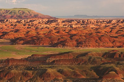 Red badland hills in the Painted Desert