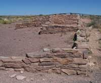 partially reconstructed pueblo walls