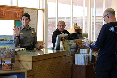 Staff greets visitors at the Painted Desert Visitor Center