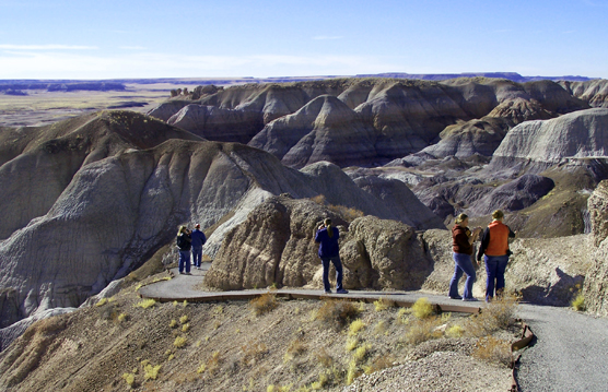 Visitors Hiking Blue Mesa Trail