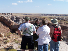 Ranger Hallie leading visitors on the Keystone Arch walk