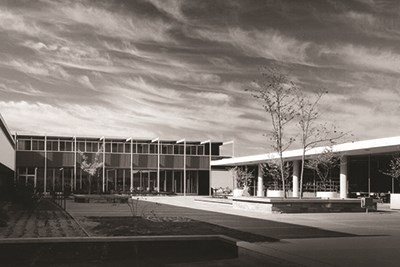 Painted Desert Community Complex plaza in 1962 black and white