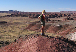 hiker stands on red hill overlooking the Painted Desert
