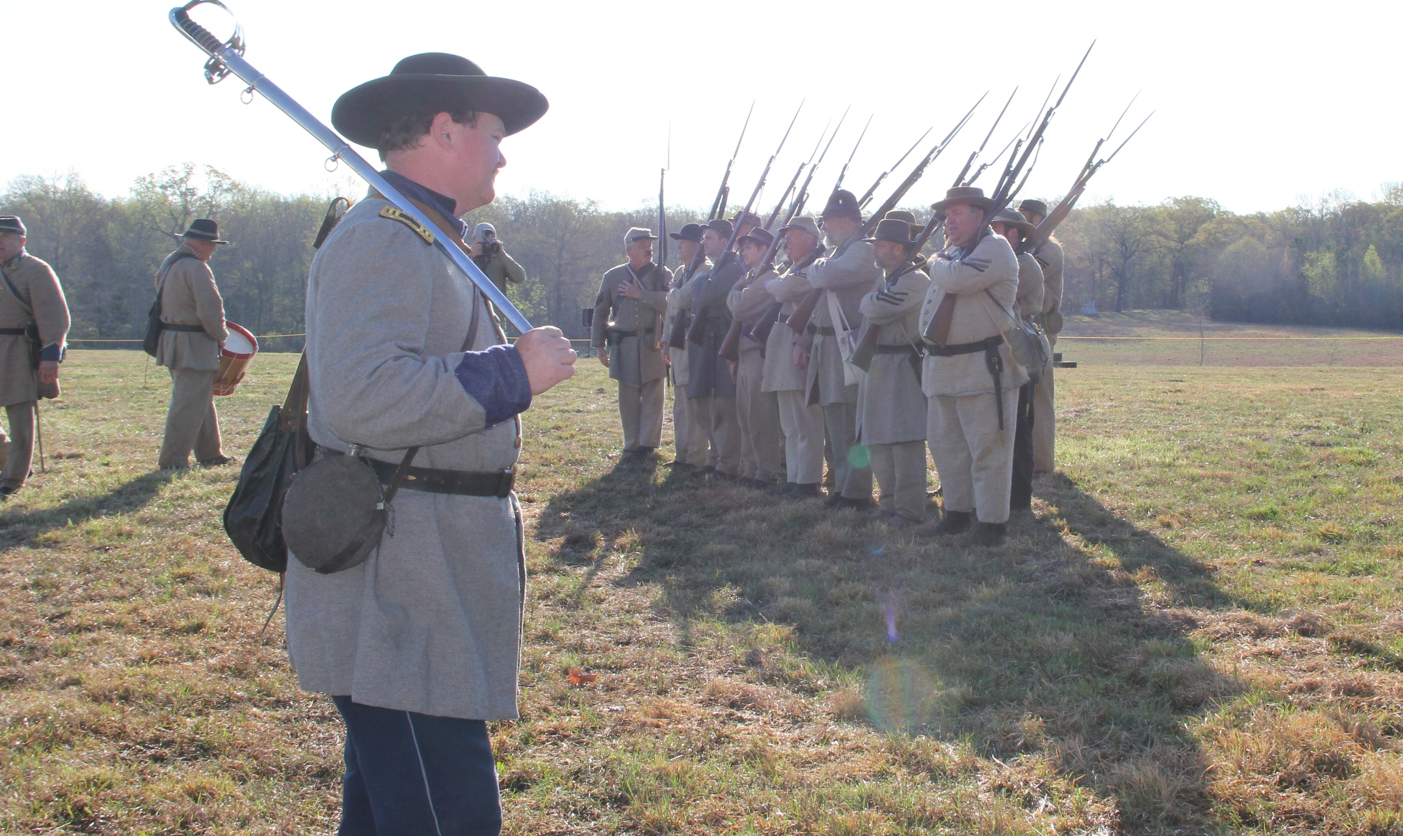 Living historians portraying CS Infantry