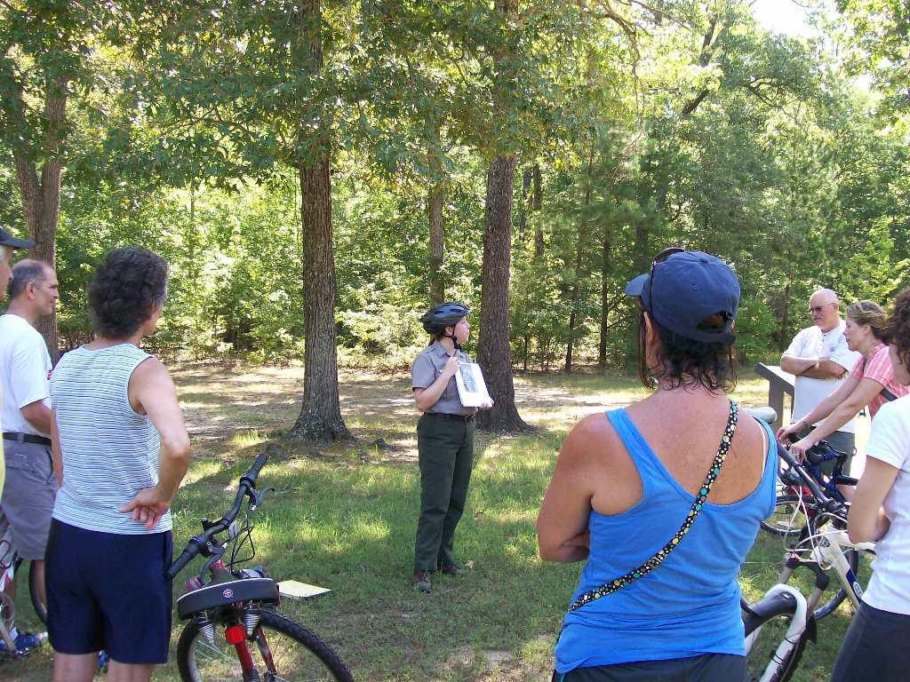 park ranger leading a bike tour