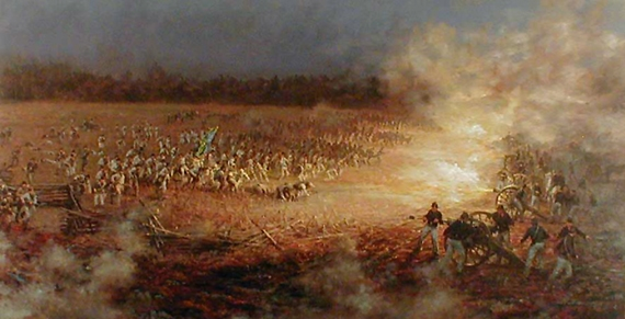 Confederate Sunset - a painting of the Battle of Pea Ridge by Andy Thomas