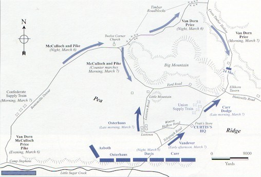 Map showing the initial troop positions and movements on March 6 and 7, 1862.