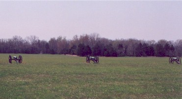 Three artillery pieces representing Tull's Missouri Artillery facing the second Federal position.