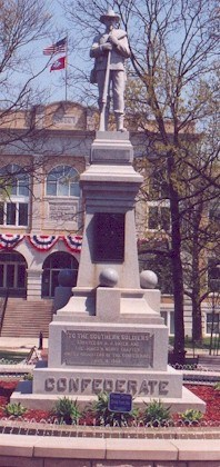 Confederate monument in the Bentonville town square.  Federal soldiers camped here just prior to the Battle of Bentonville.