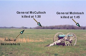 Oberson field section of the Leetown battlefield showing the treeline where General McCulloch was killed.