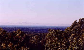 View from the West Overlook showing Fayetteville, Arkansas in the distance.
