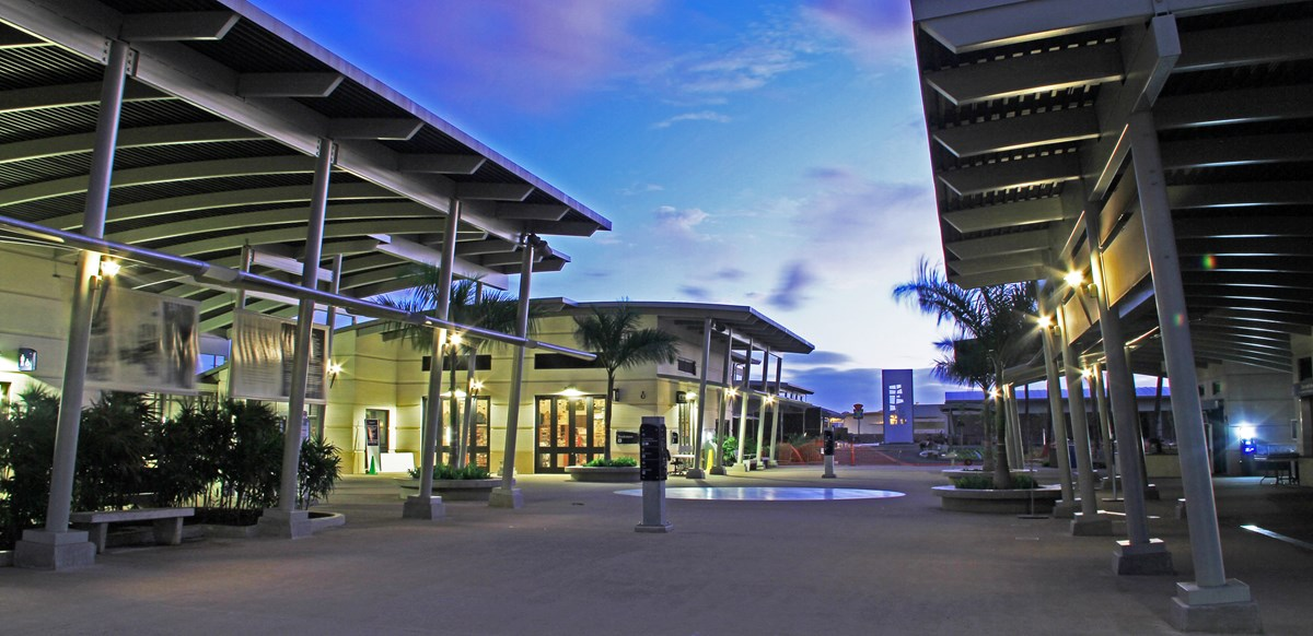 The Pearl Harbor Visitor Center at night.