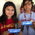 Mauka Lani Elementary students display their USS Arizona Memorial tickets.