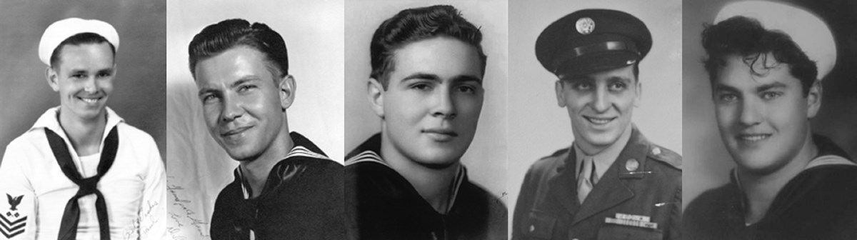 Service members who survived the Pearl Harbor attack, from left to right: Paul Goodyear, USS Oklahoma; Dale Augerson, USS West Virginia; Gerald Ross, USS Blue; John Seelie, Schofield Barracks; and Ralph Krafnick, USS New Orleans.