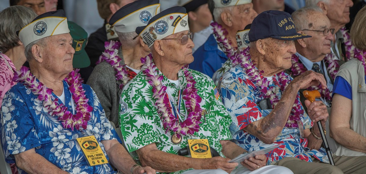 Pearl Harbor Survivors attend the 74th Commemoration of the Pearl Harbor attack.