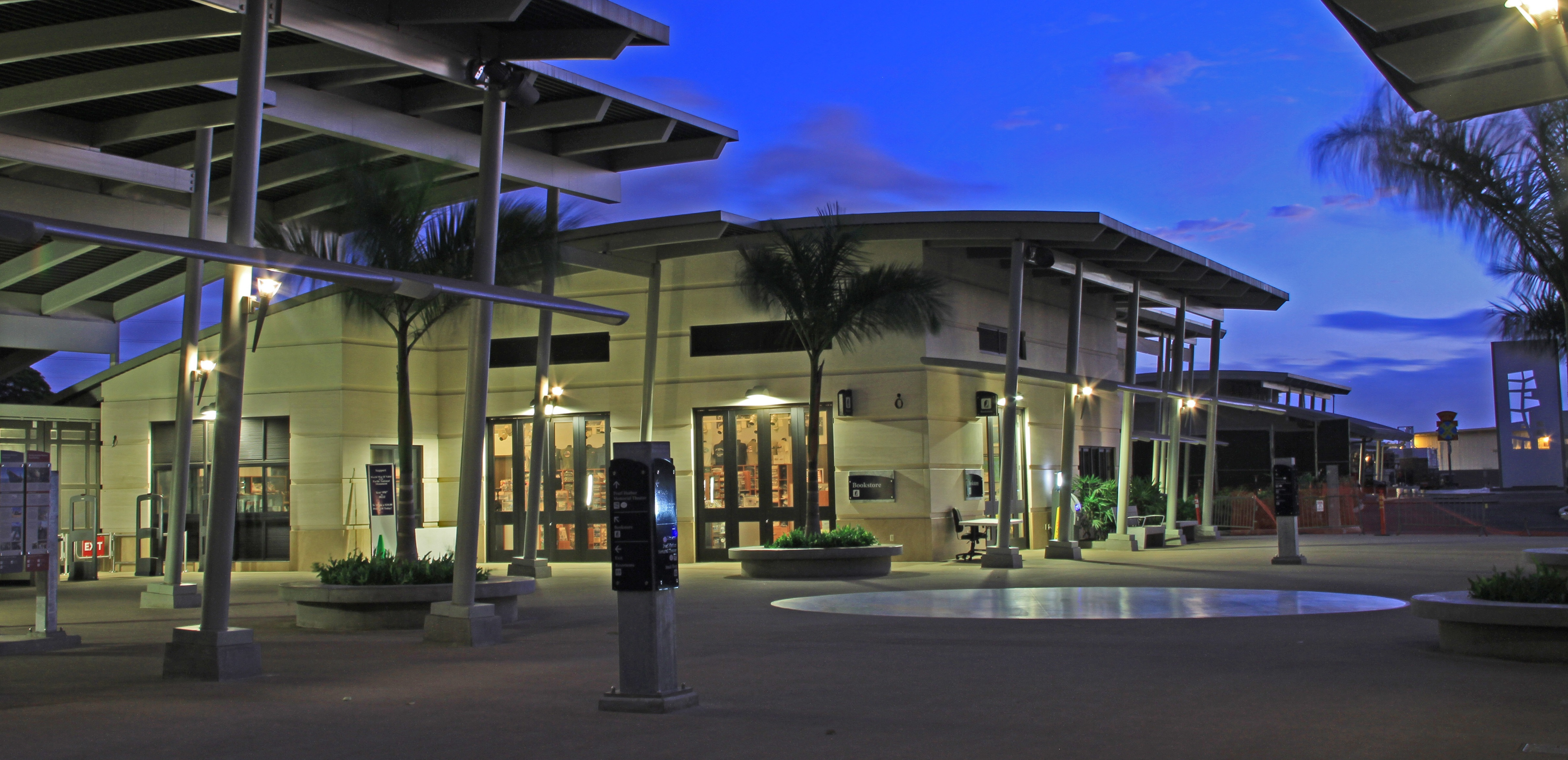 The Pearl Harbor Visitor Center bookstore in the evening.