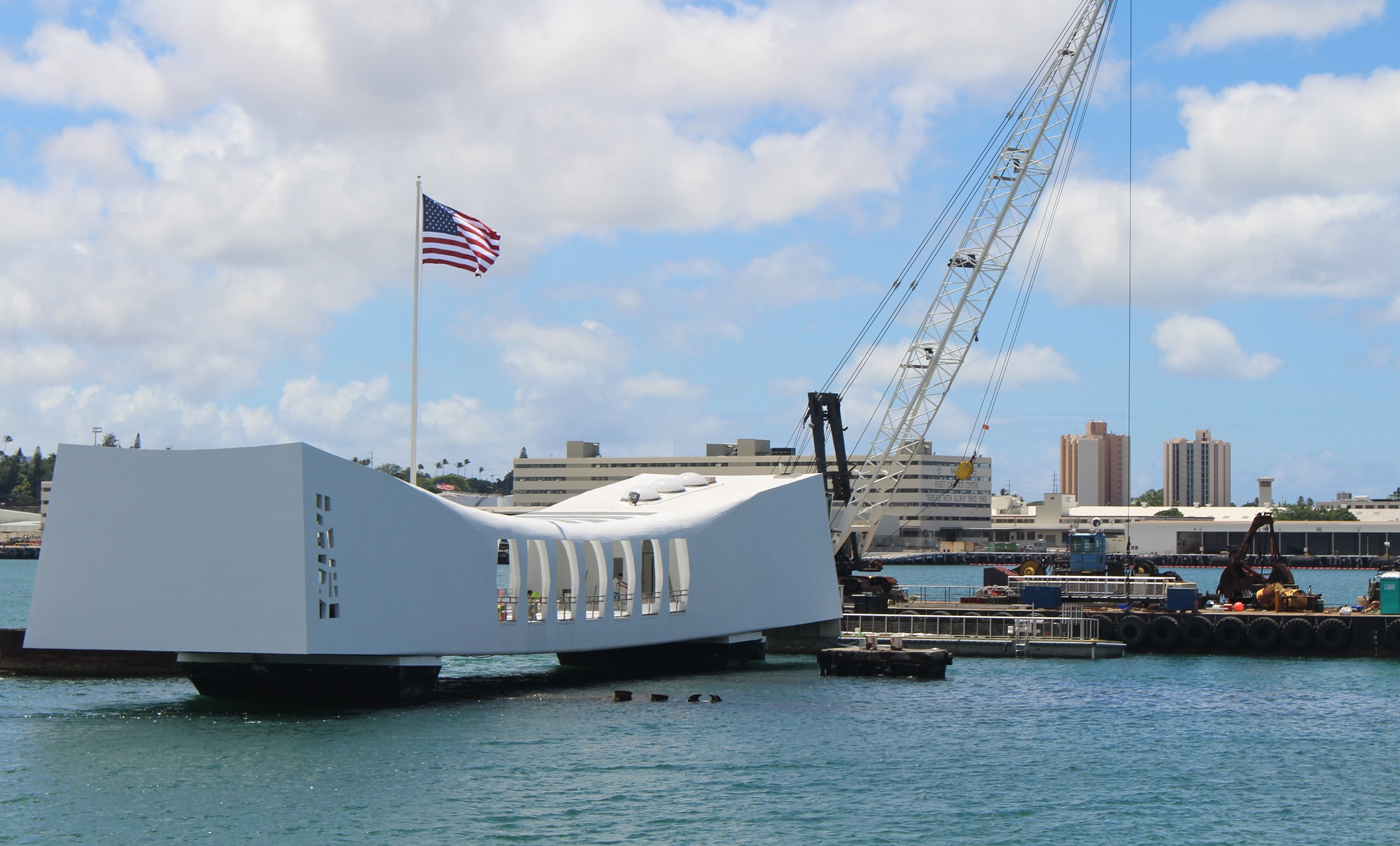 The USS Arizona Memorial and the new dock installation.