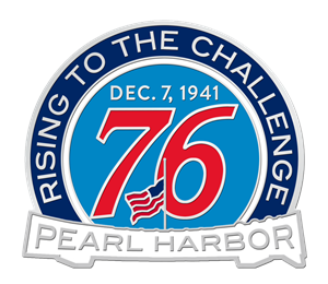 "76th Anniversary logo contains the number 76, the theme ""rising to the challenge"" and an image of the USS Arizona Memorial"