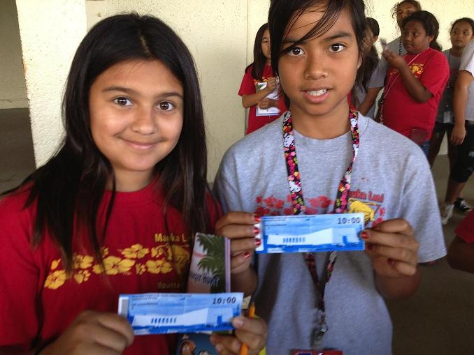Mauka Lani Elementary students with their USS Arizona Memorial tickets.