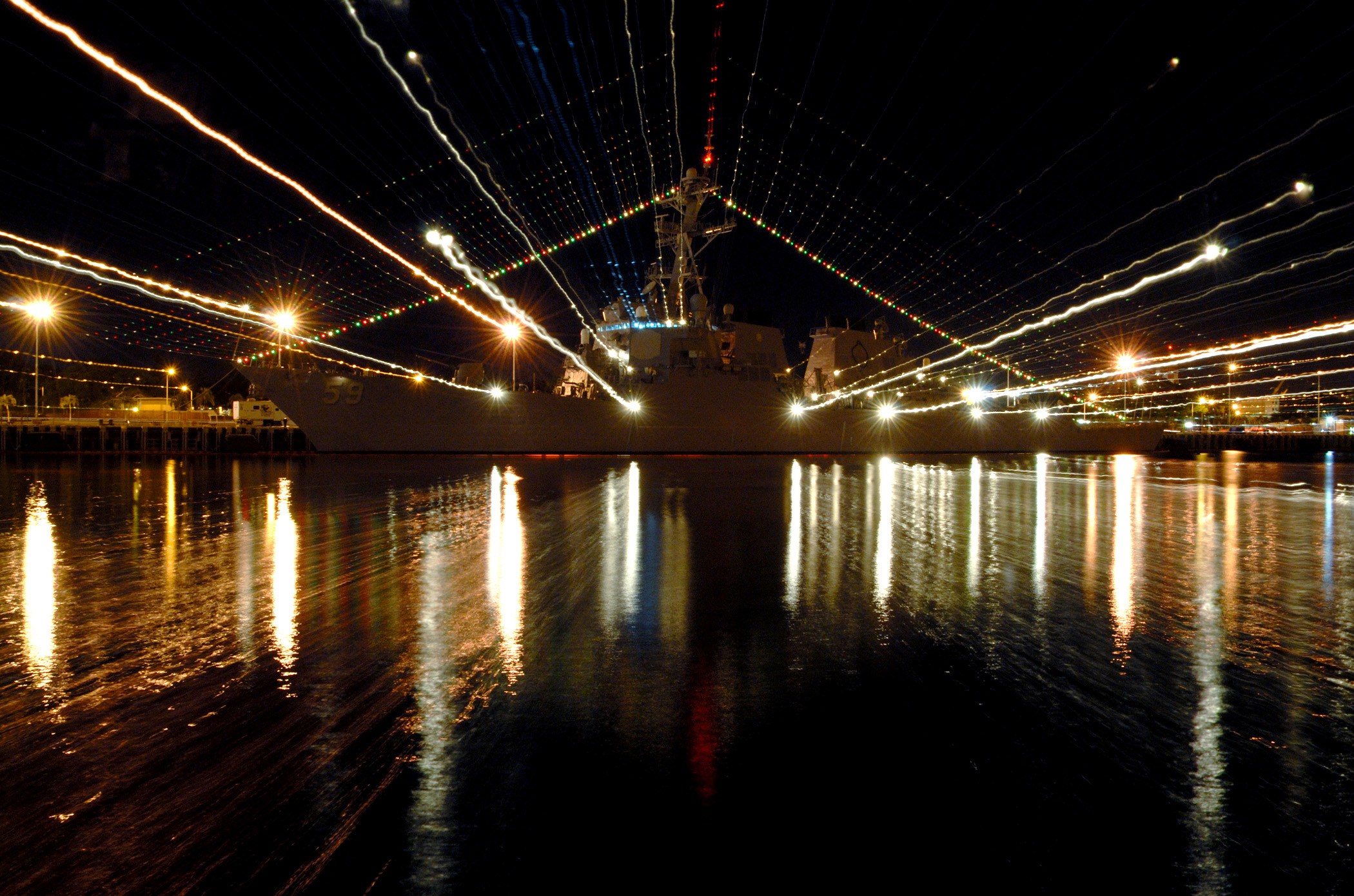 Pearl Harbor Lights (US Navy photo)