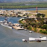 An aerial view of the Battleship Missouri and the USS Arizona Memorial at Pearl Harbor.