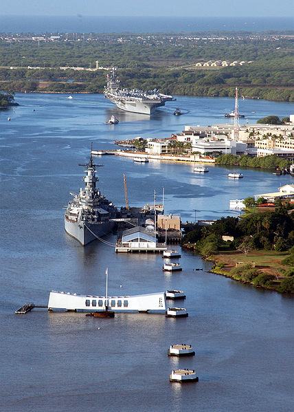 The Battleship Missouri and the USS Arizona Memorial.