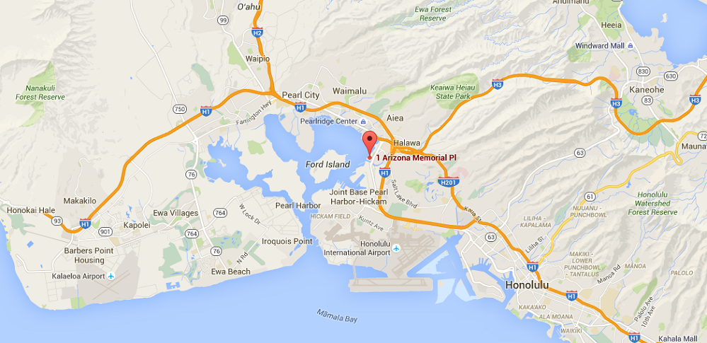 Map Of The Location Of WWII Valor In The Pacific National Monument