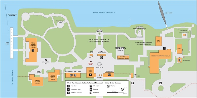 Illustrated map of the Pearl Harbor Visitor Center.