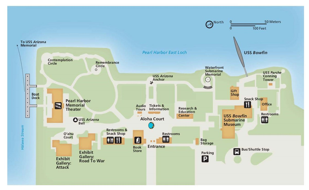 Map of Pearl Harbor Visitor Center, identifying Ticket and Information Booth, Restrooms, Theater, and additional points of interest