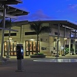 The Pearl Harbor Visitor Center bookstore at night.