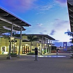 The Pearl Harbor Visitor Center in the evening.